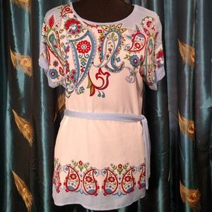 paisley patterned, cap sleeve tunic